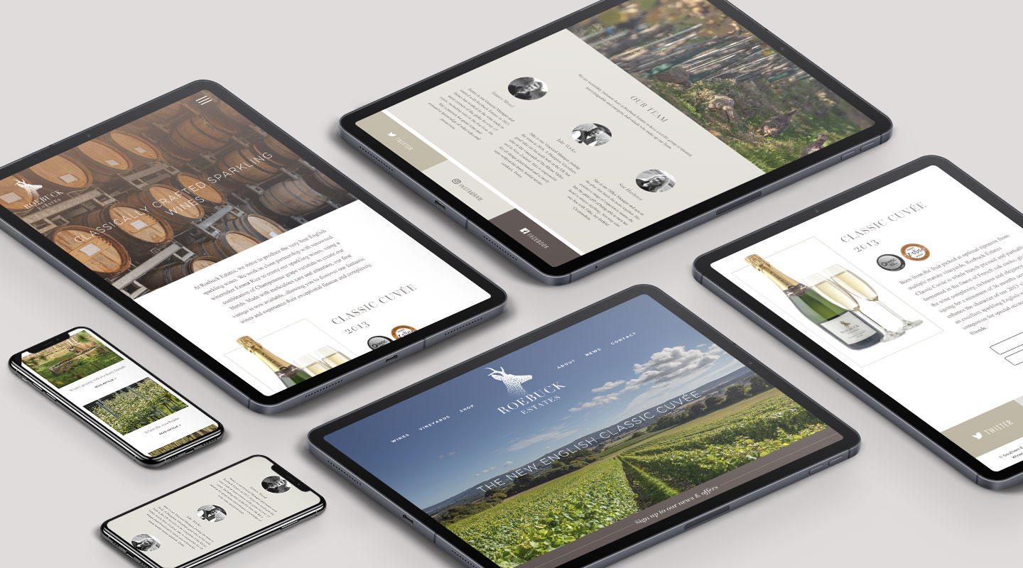Roebuck website design on tablet and mobile